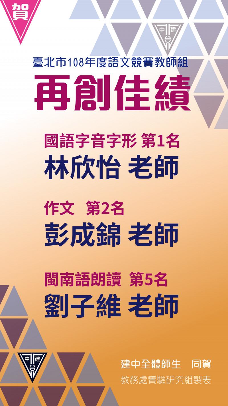 賀!! 本校教師參加臺北市108年度語文競賽教師組榮獲佳績